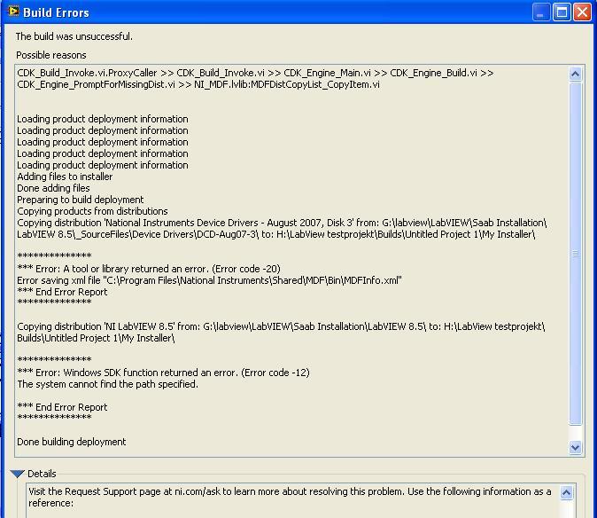 Microsoft Visual C++ runtime error when building installer