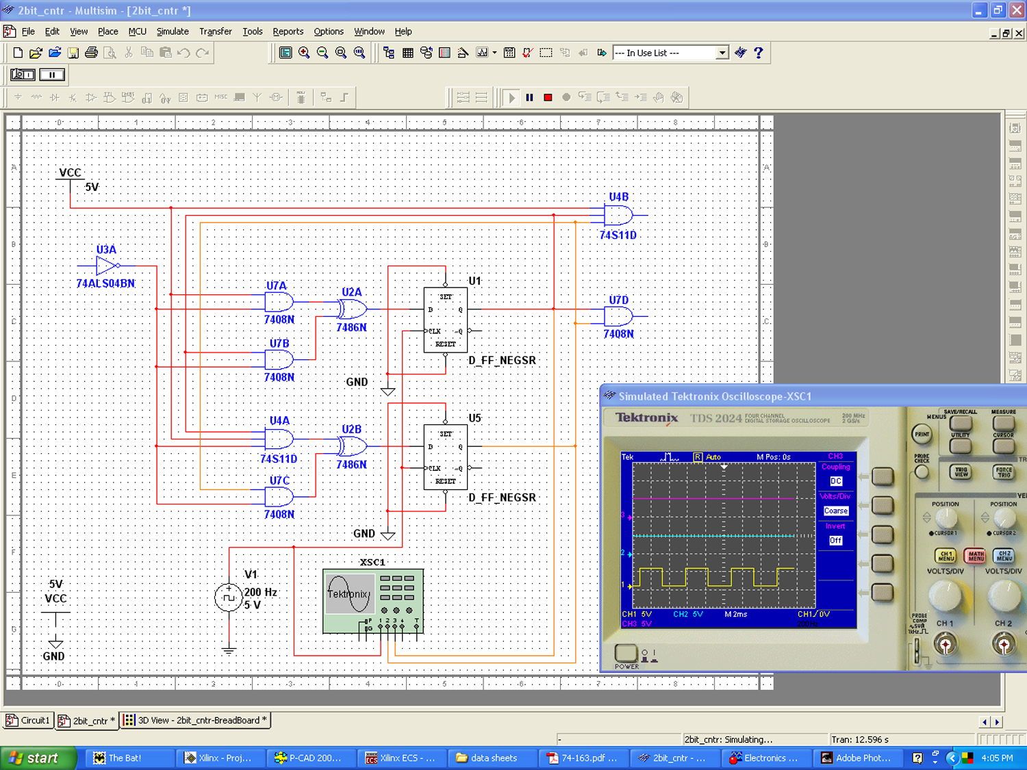 Why Wont A Flip Flop Made Out Of Gates Work Discussion Forums J K Logic Diagram I Was Experimenting With The Circuit Multisim 2bitcntr