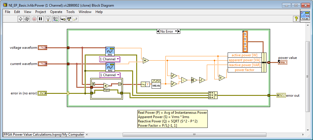 calculating apparent, real, and reactive power with three phaseLabview Power Factor Example Block Diagram #3