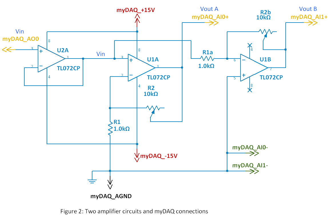 Mydaq Mini Lab Op Amp Iv Inverting And Noninverting Amplifiers Summer Circuit Fig 2 Two