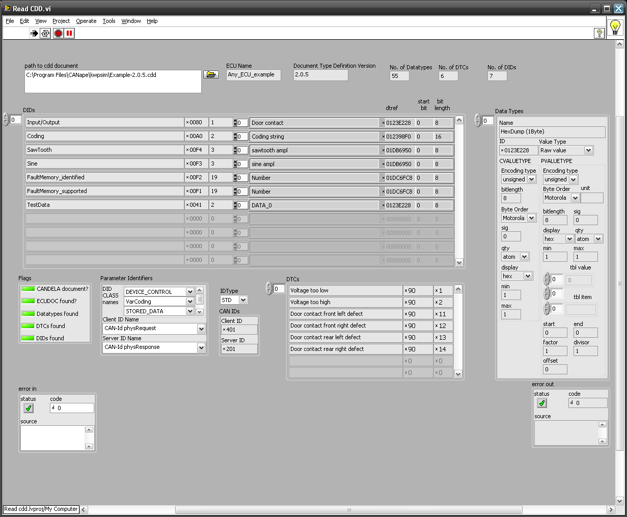 Use inbuilt LabVIEW XML functions to read Vector CANdela