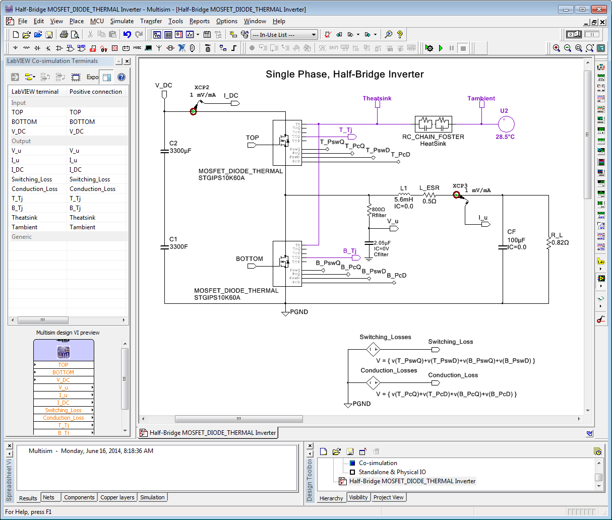 How To Simulate The Temperature Energy Efficiency And Lifetime Of Circuit Design Suite Screenshot 16 Half Bridge Mosfet Diode Thermal Inverter