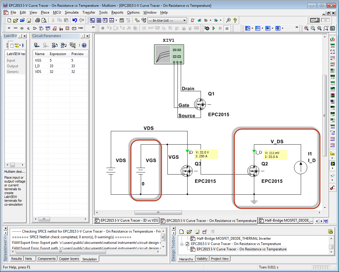 How To Simulate The Temperature Energy Efficiency And Lifetime Of Circuit Design Suite Screenshot 15 Epc2015 I V Curve Tracer On Resistance Vs
