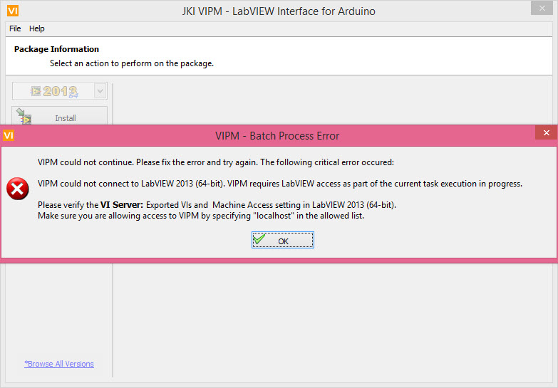 Vipm msg during installing labview interface for arduino