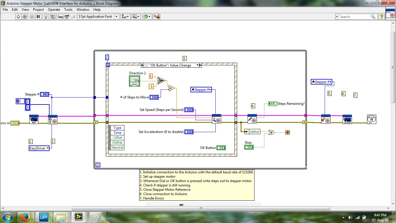 Labview to arduino? Linx! But for steppers?? Nope! Labview.