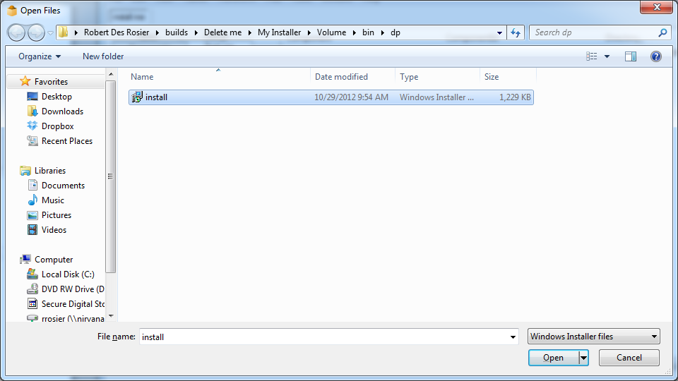 Adding 'Shared' Files to an Installer Created with
