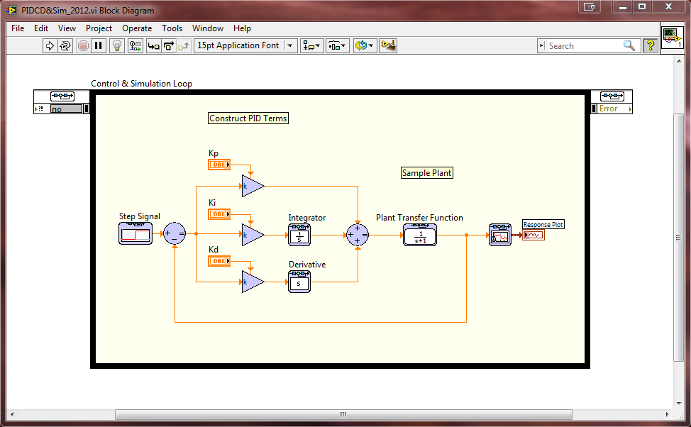Construct Pid In Control Design And Simulation Module Ni Community National Instruments