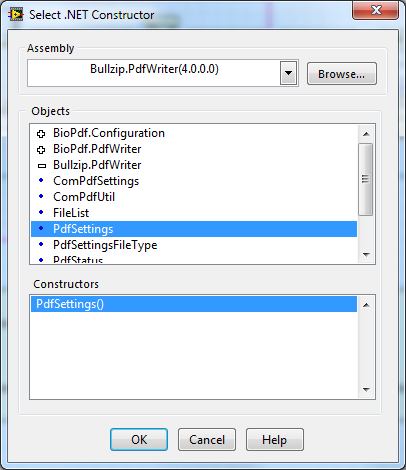 LabVIEW - save a document in PDF file by using Freeware BullZip PDF