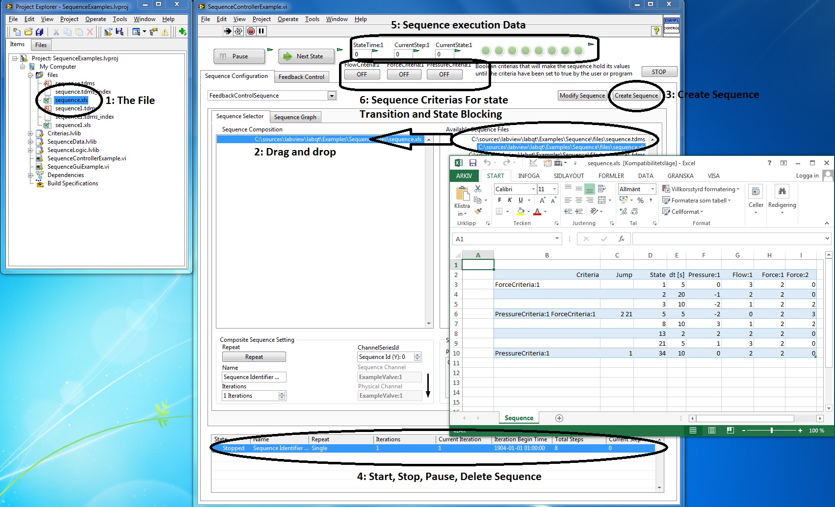 object oriented sequence state execution engine labview in the example detailed above the feedback controller runs a sequence of setpoints defined by a excel sheet each state transition is controlled by a