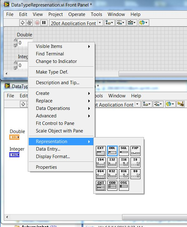Data Type Representation Pallette