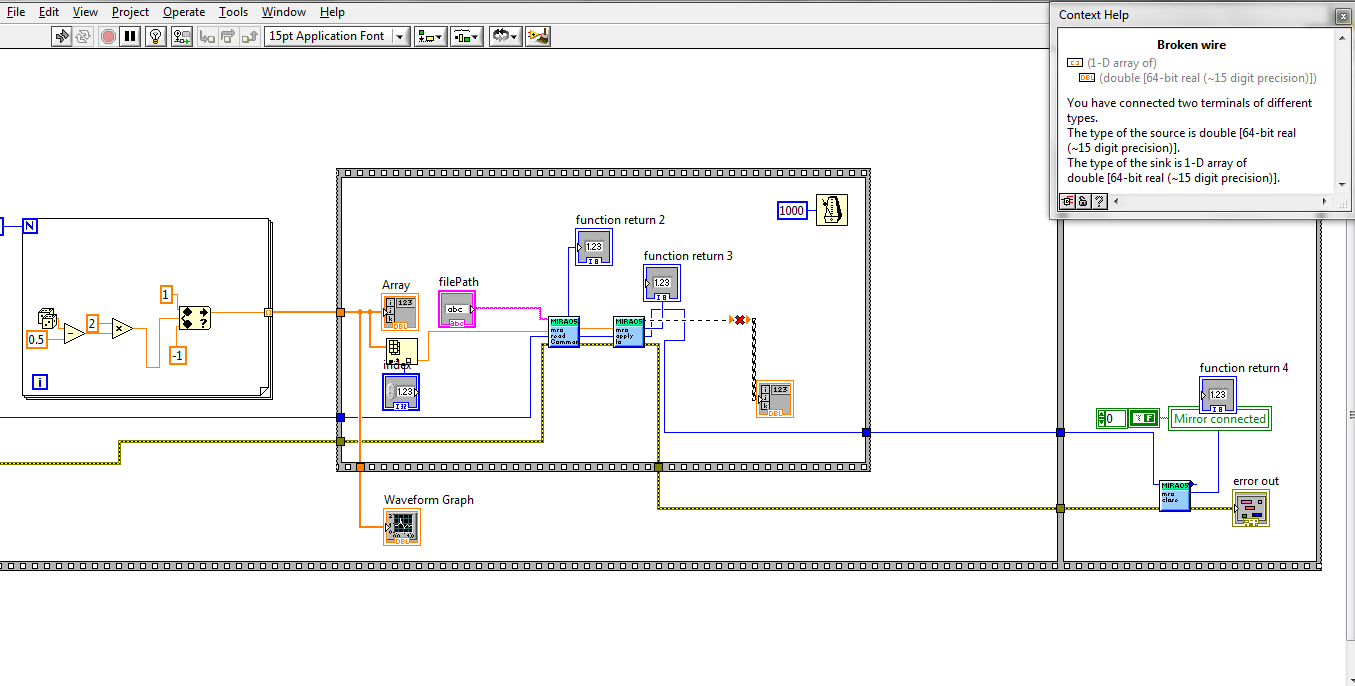 Labview topics the type of the sink is 1d array of double i am attaching an image of my block diagram and as i am totally new to labview any help and explanation is ccuart Gallery