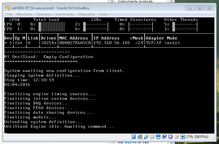 VM running VeriStand