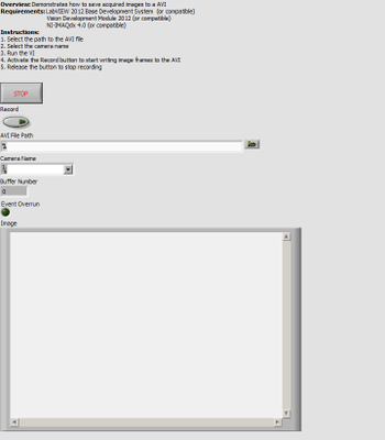 IMAQdx Low-Level Grab Async with AVI Recording - Front Panel.png