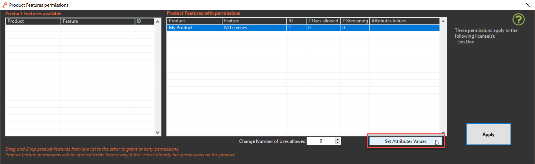 Set Product Feature Attributes Values