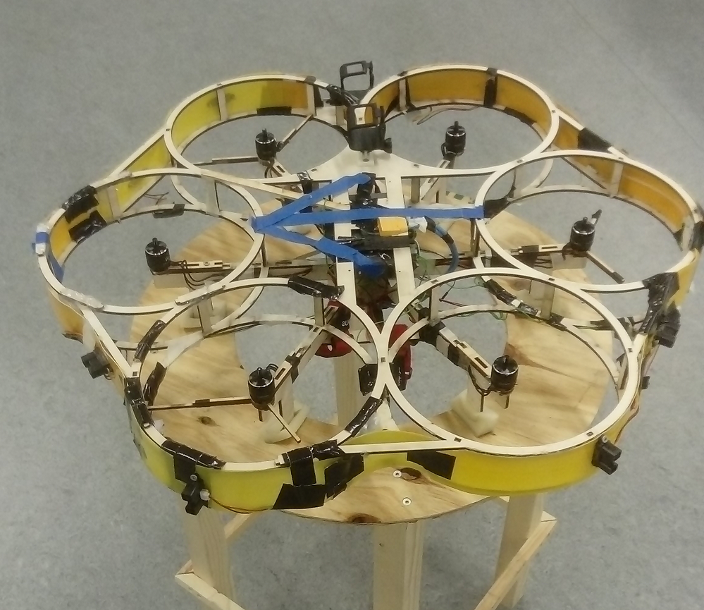 The autonomous drone. Direction of flight marked with blue tape.