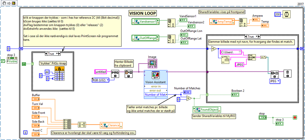 Figure 10. VI running on local PC, managing computer vision