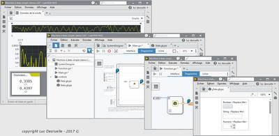 Nouvel éditeur de l'EDI LabVIEW NXG (panneau navigation, panneau configuration, zone documents)