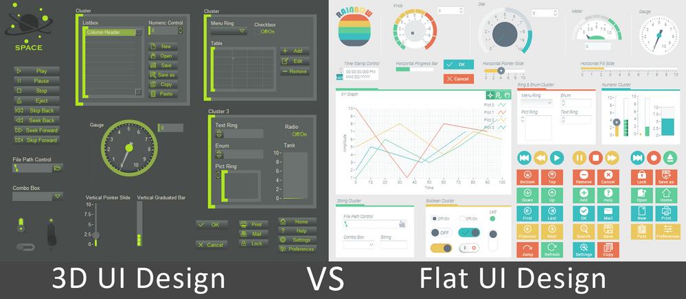Space Industrial UI kit vs Rainbow UI kit