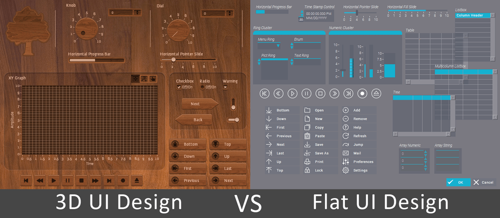 Wooden UI kit vs Classic UI kit