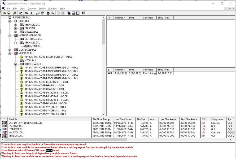 Dependency walk ReadExcel.dll.jpg