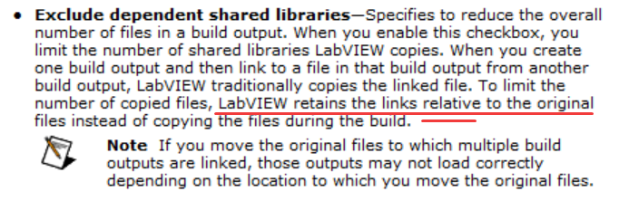 LabVIEW retains the links **relative** to the original files