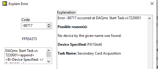 Error 88717 occurred at DAQmx Start Task.vi:7220001 No device by the given name was found.