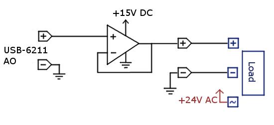 usb 6211 analog output sharing ac  dc ground