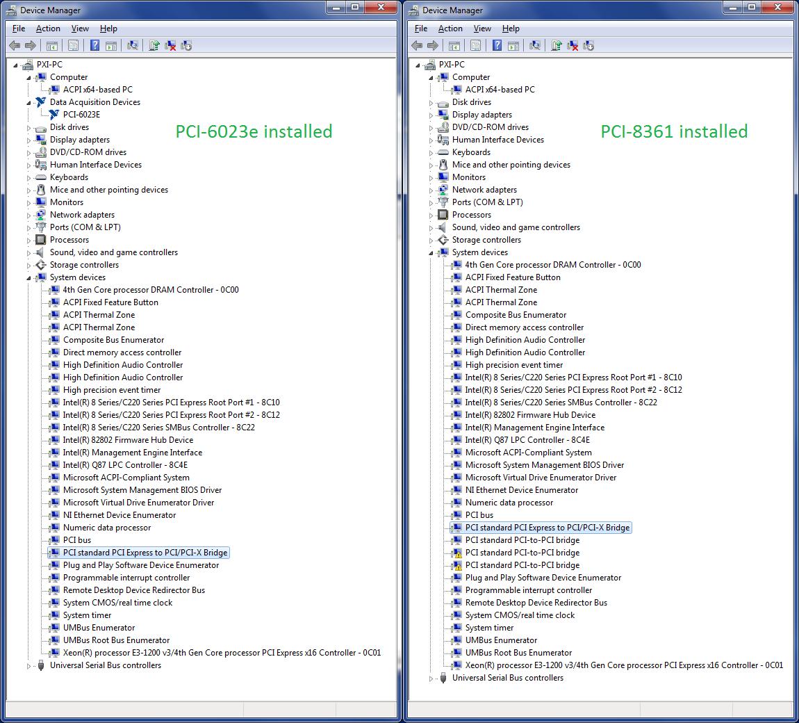 Solved: PXI-8360 (MXI-Express) + PCI-8361 + Dell OptiPlex 9020
