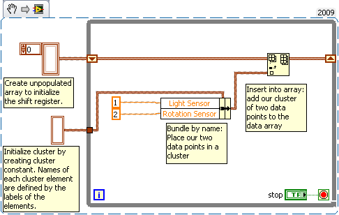 loading sensor data into an array and then retrieving it