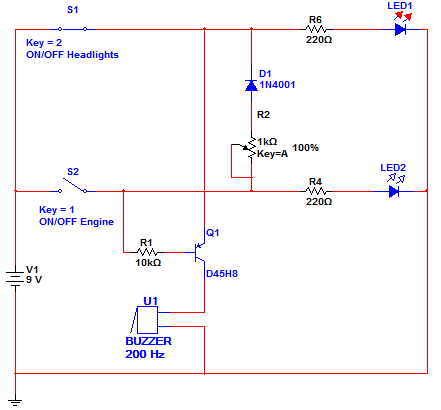 automatic manual headlights alarm circuit with ldr. Black Bedroom Furniture Sets. Home Design Ideas