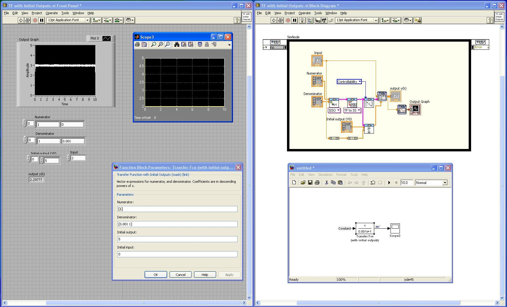 Converting Transfer Function with Initial Outputs in Simulink to