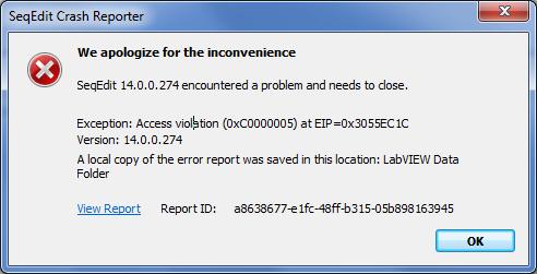 Solved: SeqEdit Crash - Access violation (0xC0000005) - NI Community