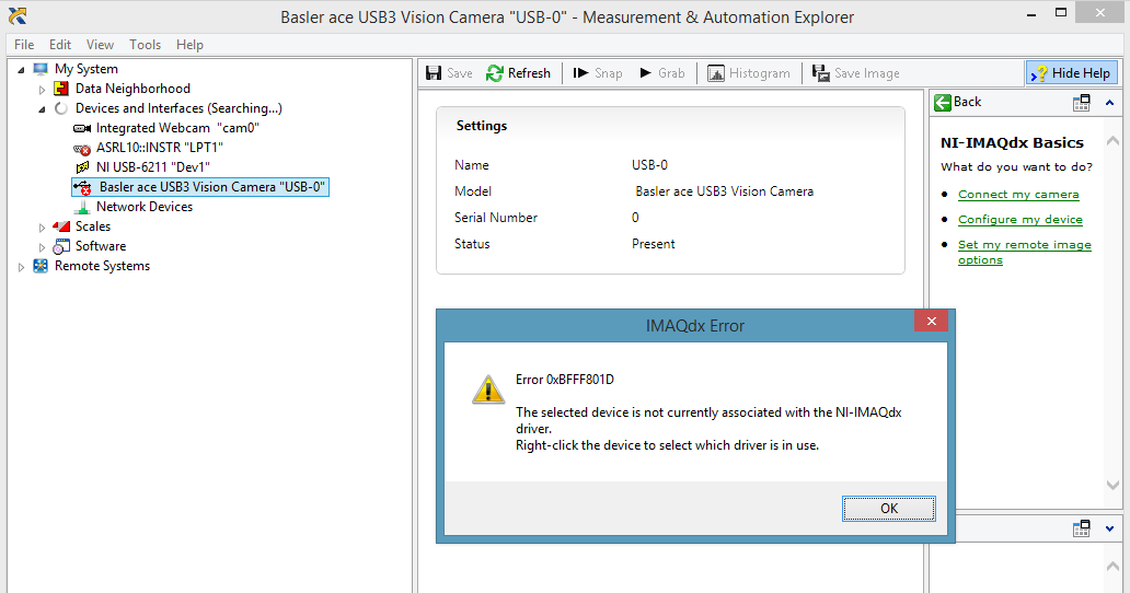 Solved: Cannot connect Basler USB 3 0 camera to IMAX - NI Community
