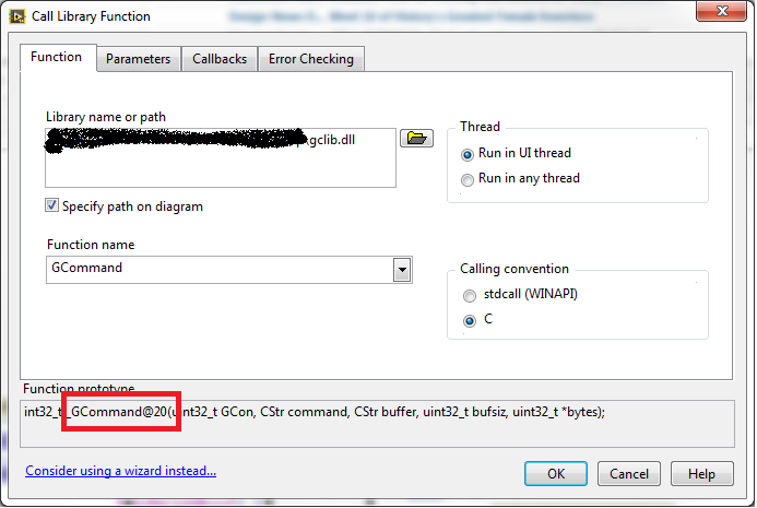 Solved: Error 1097 when calling DLL from LabView - NI