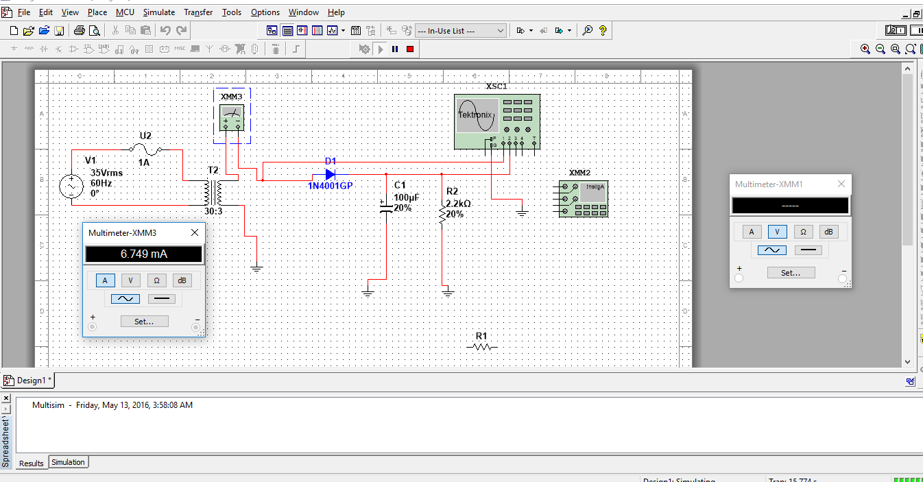 Solved Half Wave Rectified Filtered Circuit Oscilloscope Shows The Voltages And Current In A Simple Rectifier Also Right Now Since I Am Still Trying To Complete This Basic Assignment So That Move Oni Bit Behind Was Noticing How Mydaq Oscilloscopes