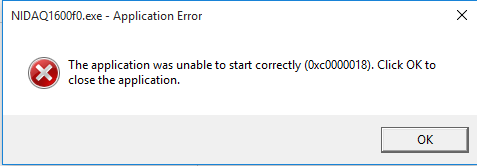 Errror 0xc0000018 when running DAQmx 16 on Windows 10 - NI Community