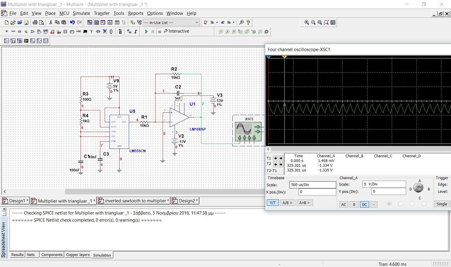 simulation error at ad633 multiplier with sawtooth from 555 timer
