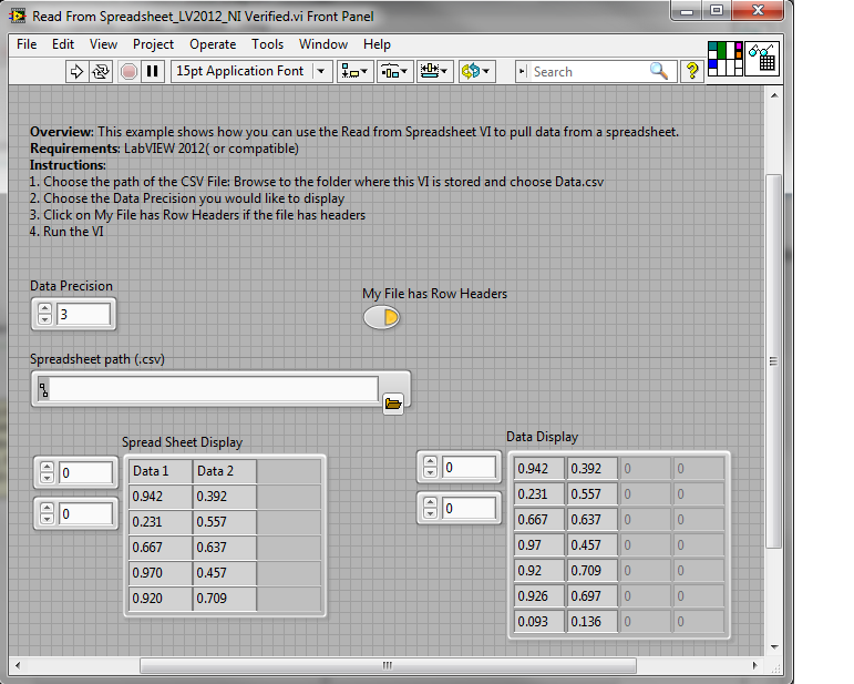Read Data From Spreadsheet V And Display In Labview