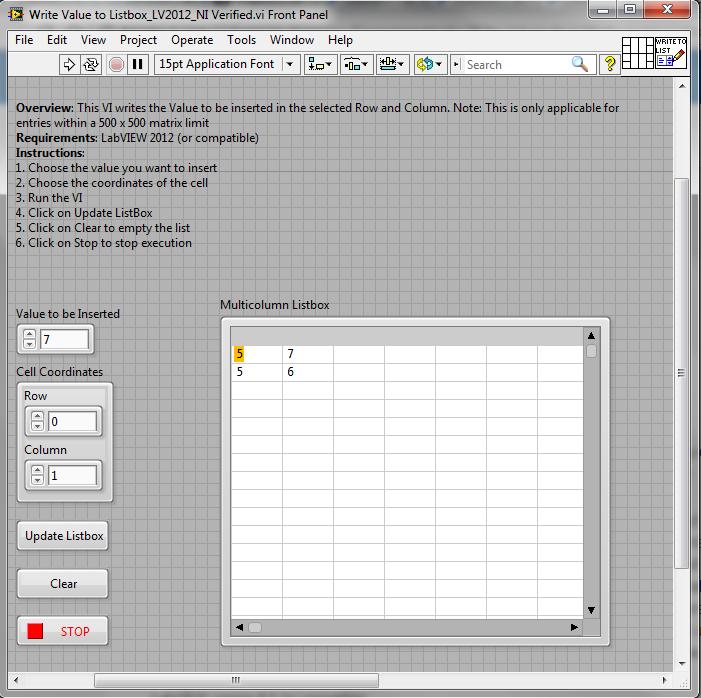 Programmatically Write Values to a Multicolumn Listbox - NI