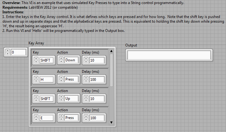 Programmatically Simulate Key Strokes in LabVIEW - NI