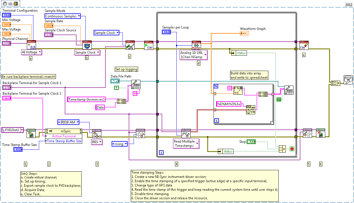 Pxi Timing Adding Timestamps To Data Using Labview With Daqmx Create Diagram Discussion Forums National Instruments