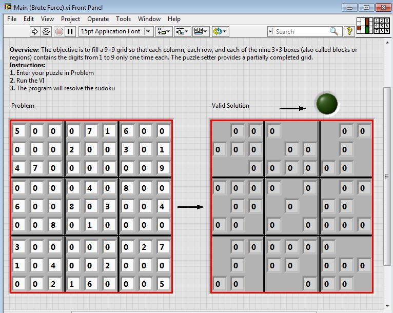 Sudoku Solver (Using Brute Force Algorithm) in LabVIEW - NI