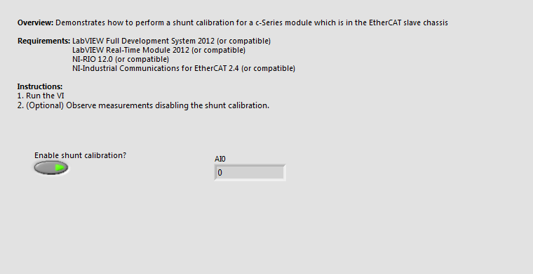 Perform Shunt Calibration of a Modul from an EtherCAT Slave Module.vi - Front Panel.png