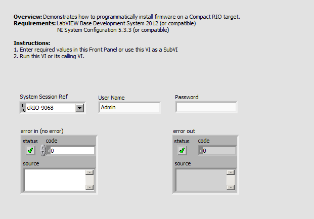 Install Firmware on cRIO LV2012 NIVerified.vi - Front Panel.png