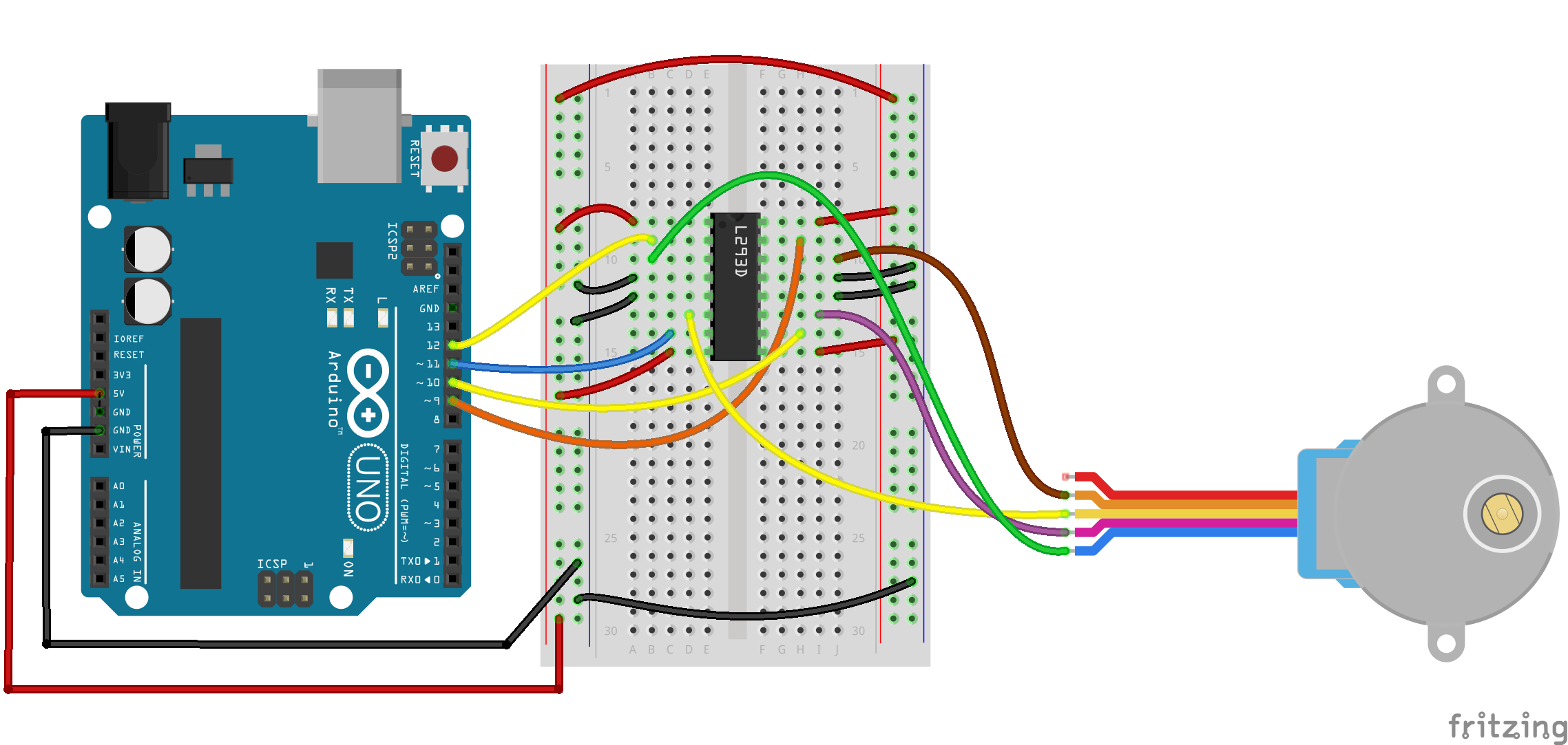 Arduino uno stepper motor example for wire no easy