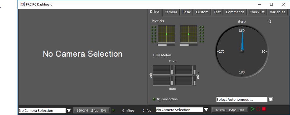 FRC Dashboard screenshot showing the playback controls