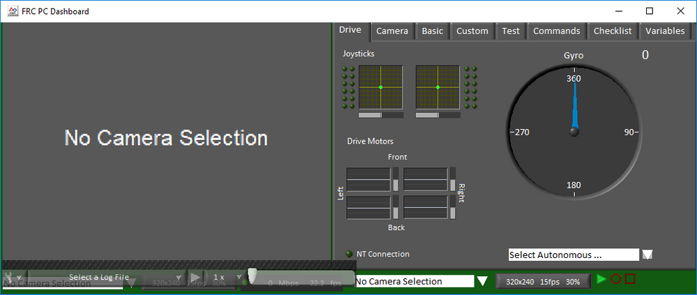 FRC Dashboard screenshot showing the playback on (green frame)