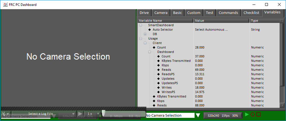 FRC Dashboard screenshot showing the variables tab in playback