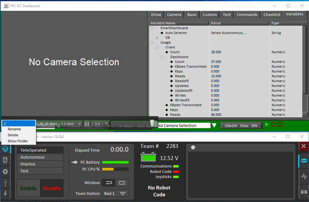 FRC Dashboard screenshot showing the playback settings tool (wrench icon at the bottom left)
