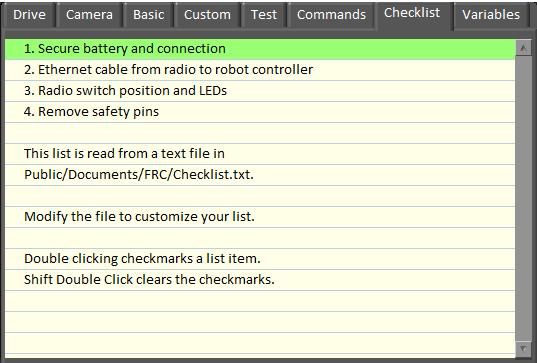 FRC Dashboard screenshot showing the Checklist tab
